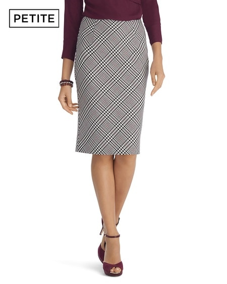 Petite Black and White Plaid Pencil Skirt