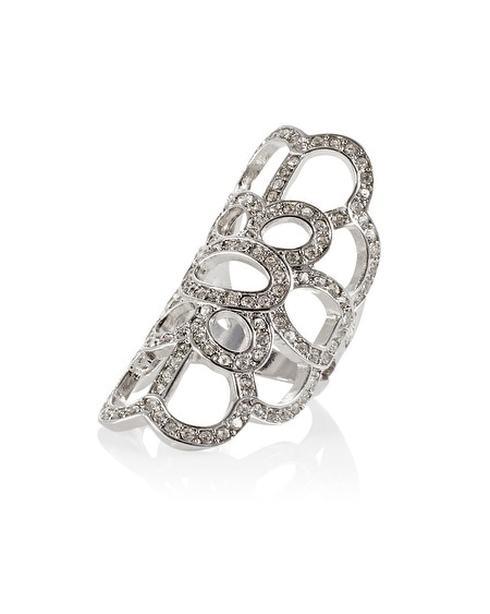 Silver Crystal Cut Out Knuckle Ring