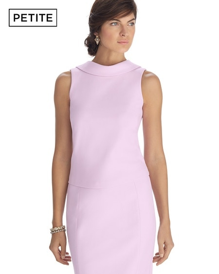 Petite Sleeveless Low Back Pink Dart Shell Top