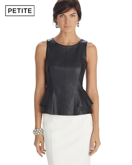 Petite Sleeveless Leather Peplum Bodice Top