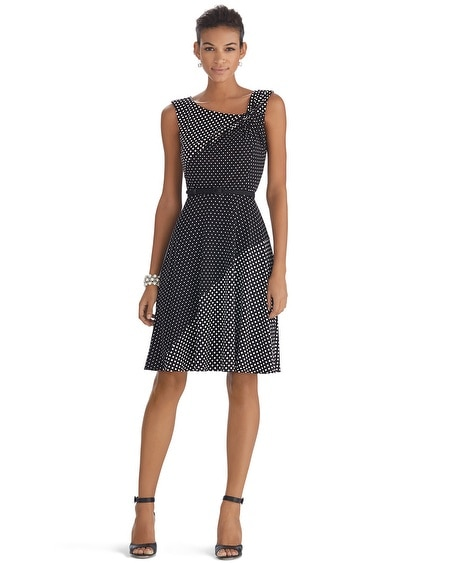 Sleeveless Twist Polka Dot Fit and Flare Dress