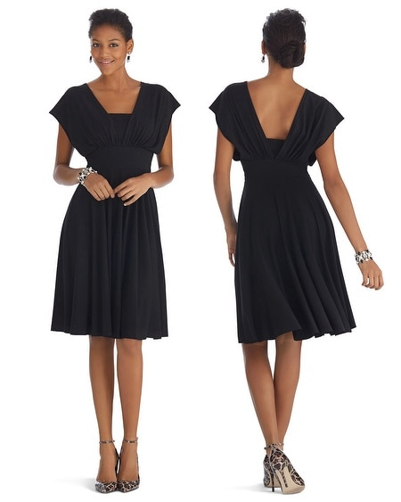 Genius Convertible Fit & Flare Black Dress