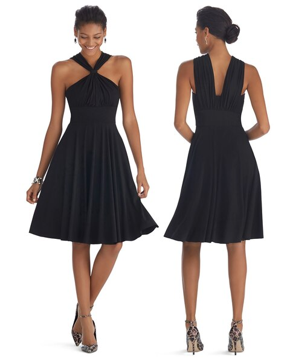 Genius Convertible Fit Flare Black Dress White House Black Market