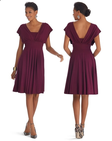 Genius Convertible Fit & Flare Burgundy Dress