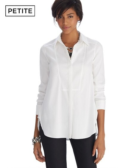 Petite Iconic Starlet Bib Front Button Down White Shirt