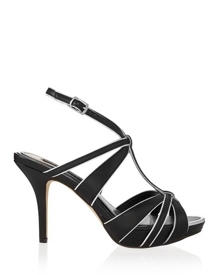 Strappy Black and White Contrast Heel