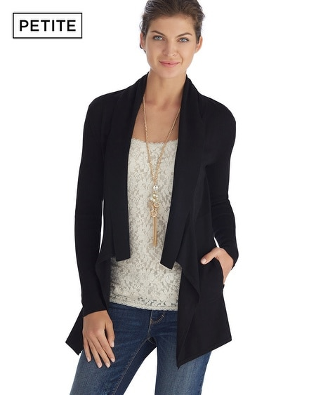 Petite Long Sleeve Drapey Jersey Black Coverup