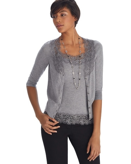 Lace Crop Gray Cardigan