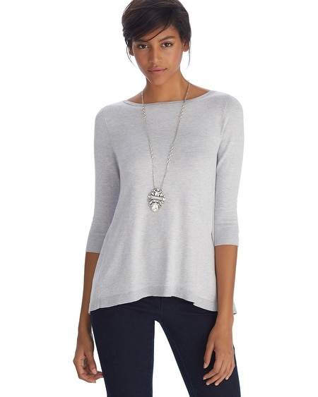 3/4 Sleeve Woven Back Layered Pullover