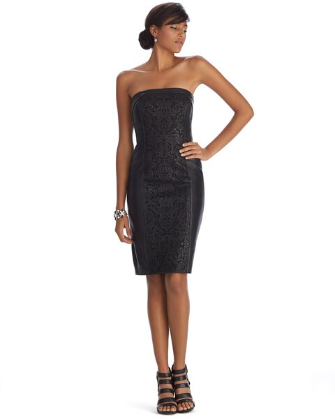 Strapless Leather Applique Sheath Dress - White House Black Market