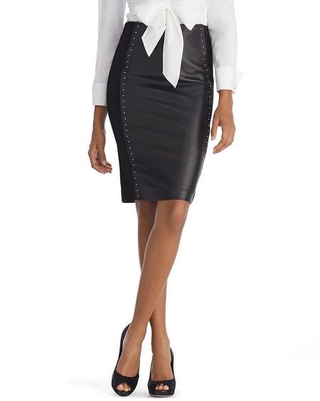 Leather Front Black Pencil Skirt