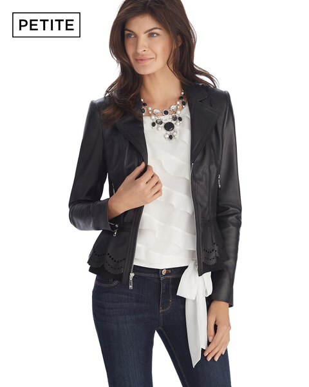 Petite Leather Ponte Black Peplum Jacket - WHBM