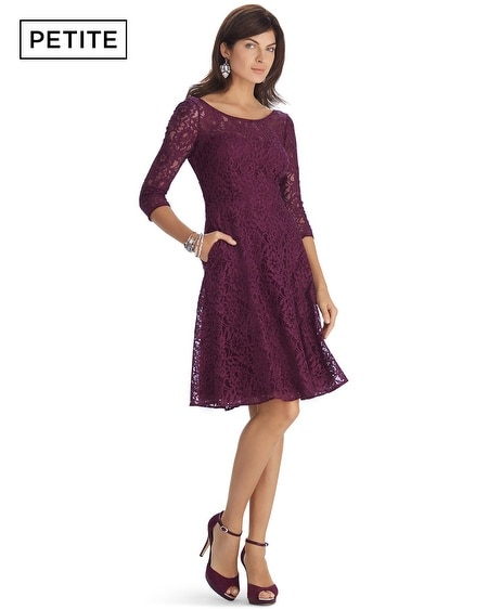 Petite 3/4 Sleeve Lace Fit and Flare Dress