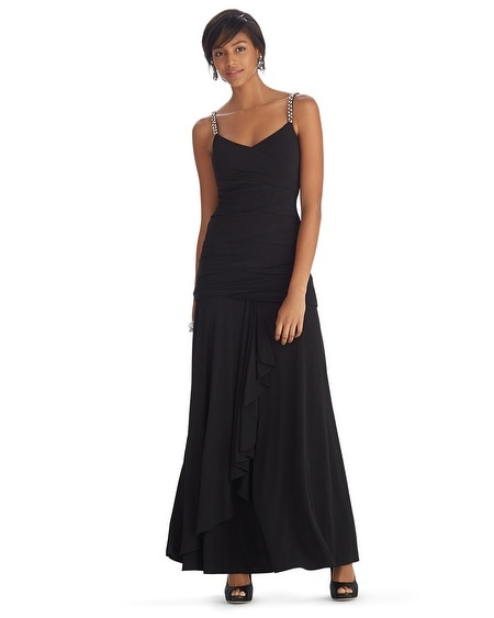 Crystal Strap Instantly Slimming Black Gown