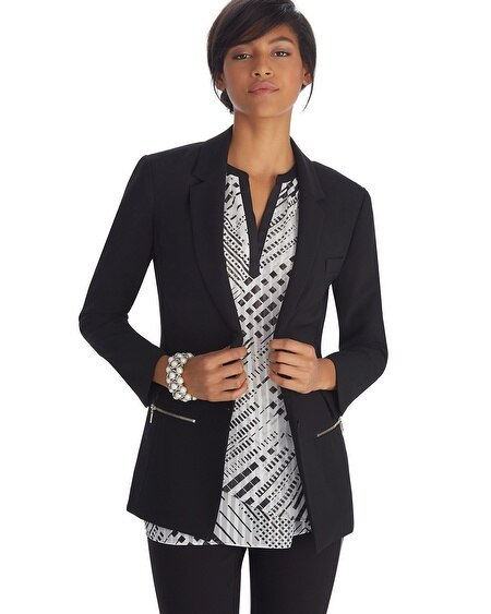 Long Crepe Black Blazer