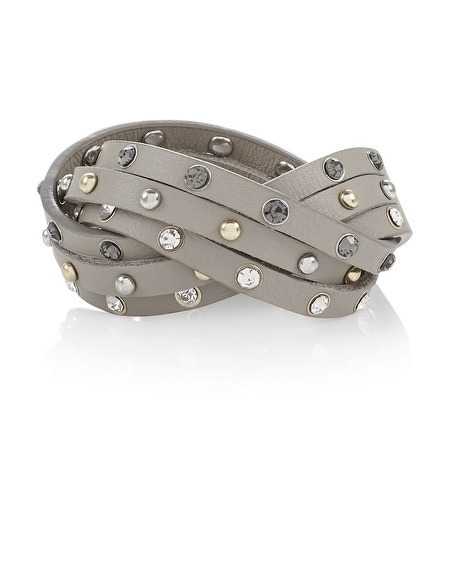 Gray Faceted Stone Wrap Bracelet