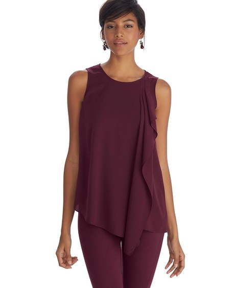 Sleeveless Ruffle Asymmetrical Tunic Top