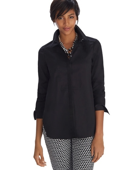 Iconic Starlet Bib Front Button Down Black Shirt
