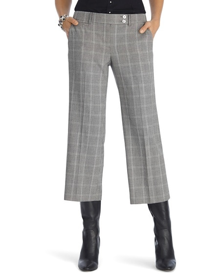 Plaid Wide Leg Cropped Pant