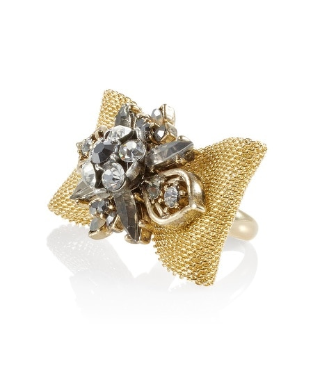Mesh Crystal Bow Ring