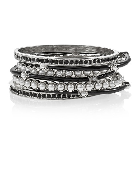 Black and White Pearl Bangle Set
