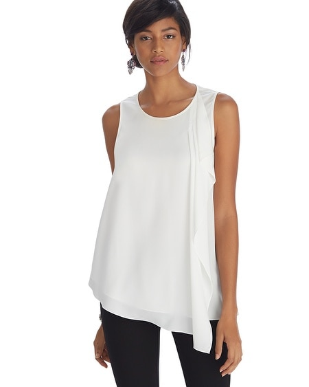 Sleeveless Cascading Ruffle Tunic Top