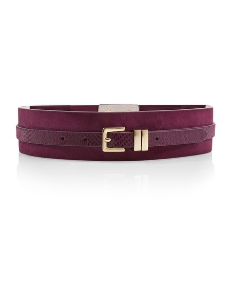 Double Burgundy Wide Stretch Belt