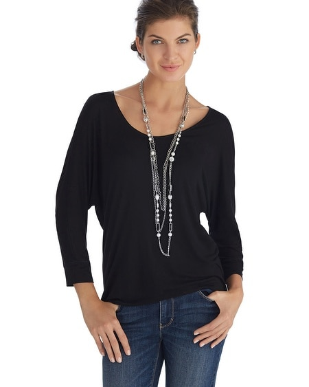 Dolman Sleeve Fitted Cuff Black Tee