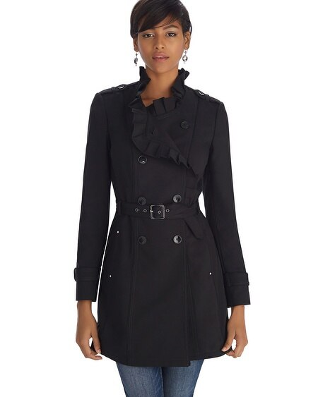 Ruffle Black Trench Coat