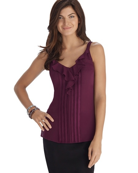 Ruffle Pintuck Burgundy Shell Top
