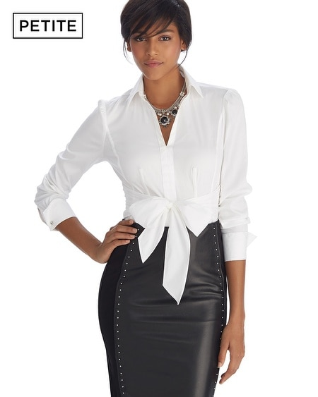 Petite Iconic Siren Tie Front Notch Collar White Shirt