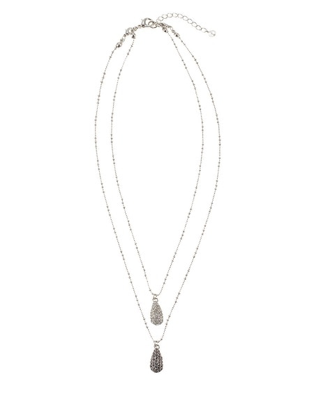 Silver Double Teardrop Necklace
