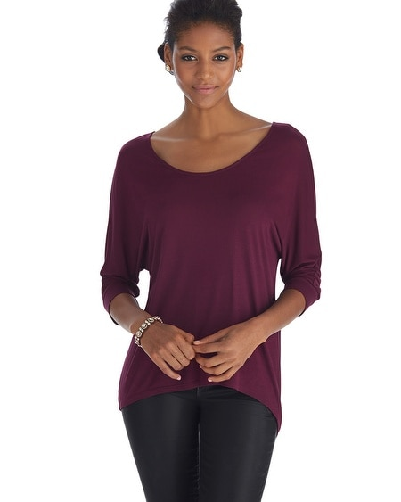 Dolman Sleeve Fitted Cuff Burgundy Tee