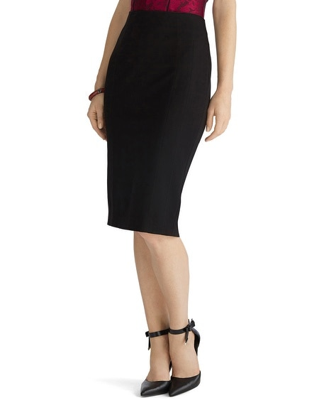 Long Ponte Black Pencil Skirt