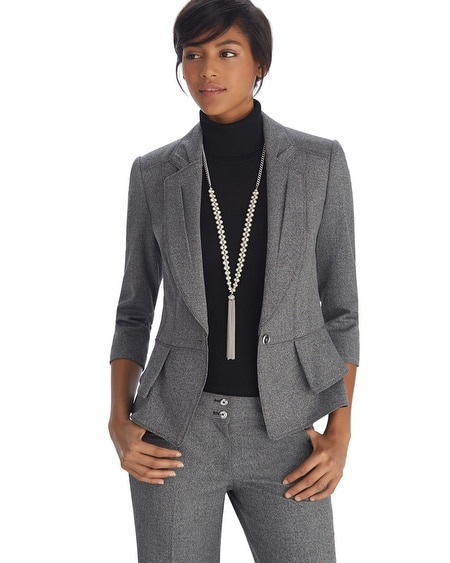 Double Peplum Gray Jacket