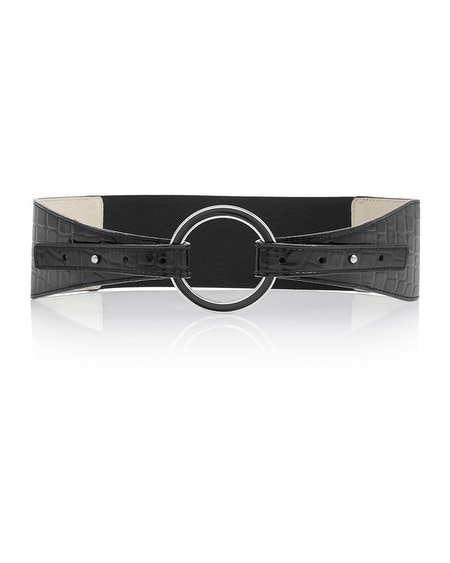 Crocodile Embossed Black Ring Belt