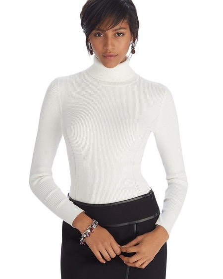 Long Sleeve Ribbed Ecru Turtleneck