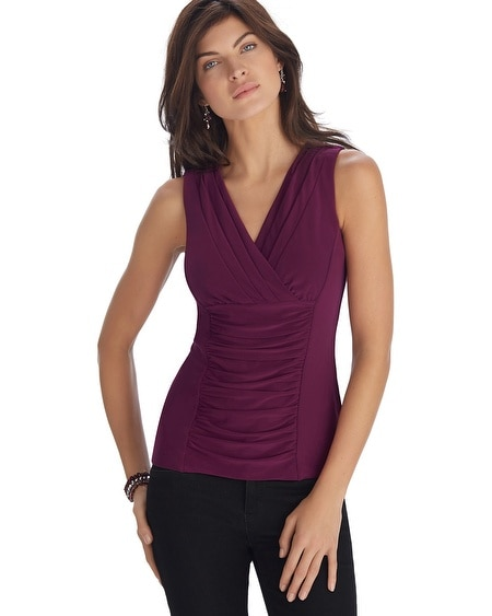 Sleeveless Burgundy Surplice Shell Top