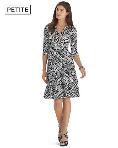 Petite Printed 3/4 Sleeve Wrap Dress