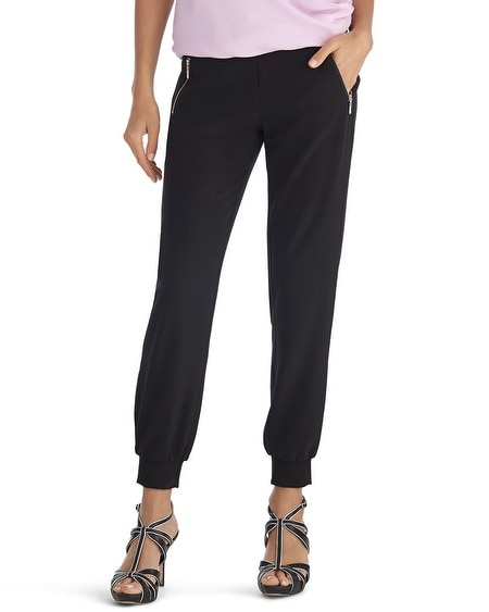 Cuffed Crepe Zip Black Pant