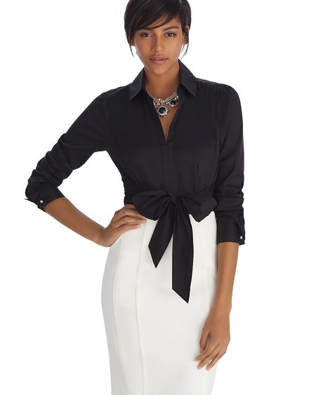Iconic Siren Tie Front Black Shirt