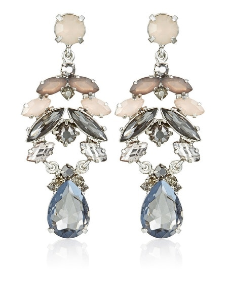 Gray Neutral Navette Chandelier Earring