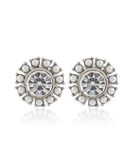 Silver Pearl Crystal Post Earring