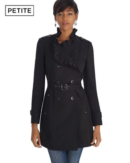 Petite Ruffle Black Trench Coat