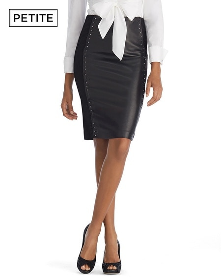 Petite Leather Front Black Pencil Skirt