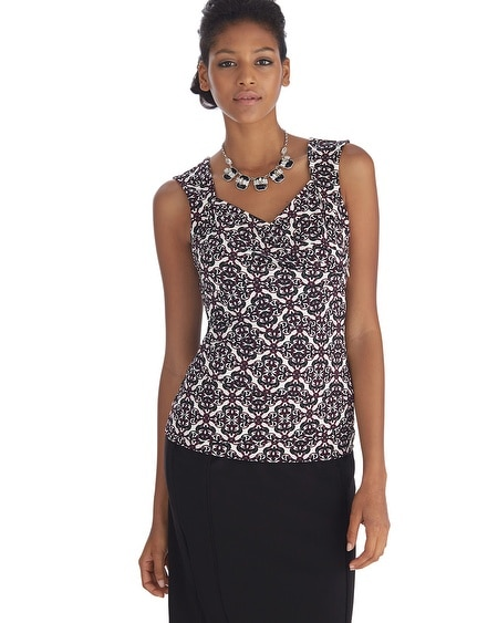 Sleeveless Printed Tier Shell Top