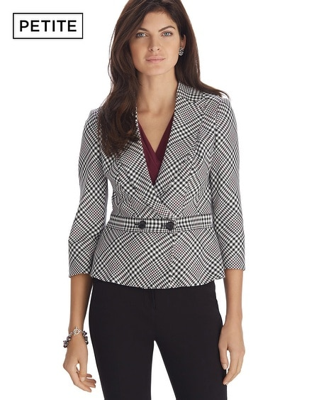 Petite Plaid Graphic Print Jacket