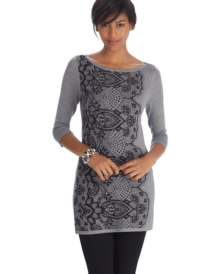 3/4 Sleeve Lace Printed Tunic Pullover