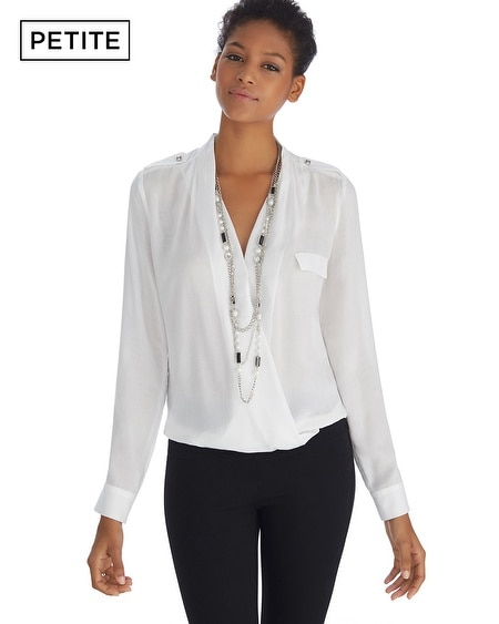 Petite Iconic Artist Long Sleeve Surplice White Shirt