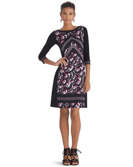Printed 3/4 Sleeve Shift Dress